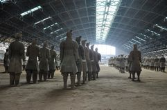 Terracotta Army. Clay soldiers of the Chinese emperor. XIAN, CHINA - October 29, 2017: Terracotta Army. Clay soldiers of the Chinese emperor. Sculptures of the royalty free stock image