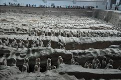 Terracotta Army. Clay soldiers of the Chinese emperor. XIAN, CHINA - October 29, 2017: Terracotta Army. Clay soldiers of the Chinese emperor. Sculptures of the stock photos
