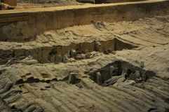 Terracotta Army. Clay soldiers of the Chinese emperor. XIAN, CHINA - October 29, 2017: Terracotta Army. Clay soldiers of the Chinese emperor. Sculptures of the stock photo