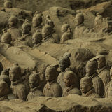 The Terracotta army. Terracotta Army is a collection of terracotta sculptures depicting the armies of Qin Shi Huang, the first Emperor of China. 210-209 BC Stock Images