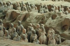 The terracotta army is a figure of ancient stock photo