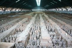 The Terracotta Army the first Emperor of China. Terracotta Army is a collection of terracotta sculptures depicting the armies of Qin Shi Huang, the first Emperor stock image