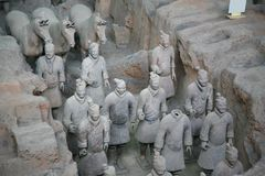 The Terracotta Army the first Emperor of China. Terracotta Army is a collection of terracotta sculptures depicting the armies of Qin Shi Huang, the first Emperor royalty free stock photos