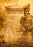 Terracotta army on grunge background Stock Photos