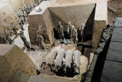 Terracotta Army in Mausoleum of the First Qin Emperor in Xian, China. X`ian is the Ancient Capital of China royalty free stock image