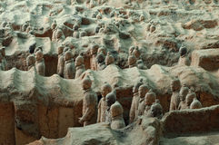 Terracotta Army near the city of Xian, China. The ancient Terracotta Army of Qin Shi Huang near the city of Xian in Shaaxi province in China Royalty Free Stock Photo