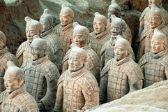 Terracotta Army near the city of Xian, China. The ancient Terracotta Army of Qin Shi Huang near the city of Xian in Shaaxi province in China Royalty Free Stock Photos