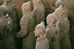 Terracotta Army of soldier sculptures group in Xian, China Royalty Free Stock Photography