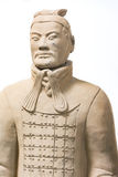 Terracotta Army Soldier Standing Statue Historical Isolated Back Royalty Free Stock Image
