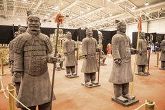 Terracotta Army Warrior at the Festival of the Orient in Rome Italy. The Festival of the Orient was held at the Exhibition Centre near Rome Airport at Fumincino Royalty Free Stock Photography