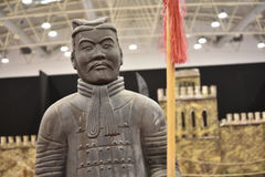 Terracotta Army Warrior at the Festival of the Orient in Rome Italy. The Festival of the Orient was held at the Exhibition Centre near Rome Airport at Fumincino Stock Photos