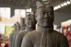Terracotta army warrior statue. Close up detail stock images
