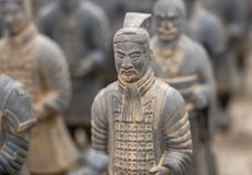 Terracotta Army warriors buried in Emperor tomb outside Xian China. Detail of a model of the pottery terracotta army warriors and soldiers found outside Xi`an stock photo