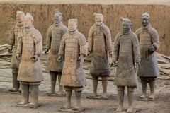 Terracotta Army warriors buried in Emperor tomb outside Xian China. Detail of the pottery terracotta army warriors and soldiers found outside Xi`an China royalty free stock image