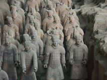 Terracotta Army warriors in Xian China. Xian China, 12 aout 2005: the famous Terracotta Army Soldier and horse funerary statues in Xian China stock photos