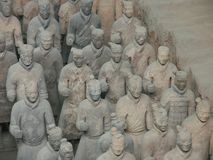 Terracotta Army warriors in Xian China. Xian China, 12 aout 2005: the famous Terracotta Army Soldier and horse funerary statues in Xian China royalty free stock photography