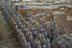 The Terracotta Army in Xian, China. The Terracotta Army is a collection of terracotta sculptures depicting the armies of Qin Shi Huang, the first Emperor of stock photos