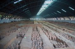 Terracotta army. XIAN, CHINA - October 8, 2017: Famous Terracotta Army in Xi'an, China. The mausoleum of Qin Shi Huang, the first Emperor of China contains Royalty Free Stock Images