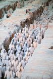 Terracotta army. XIAN, CHINA - October 8, 2017: Famous Terracotta Army in Xi'an, China. The mausoleum of Qin Shi Huang, the first Emperor of China contains stock images