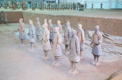 Terracotta army. XIAN, CHINA - October 8, 2017: Famous Terracotta Army in Xi'an, China. The mausoleum of Qin Shi Huang, the first Emperor of China contains stock photography