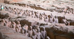 Terracotta army. XIAN, CHINA - October 8, 2017: Famous Terracotta Army in Xi'an, China. The mausoleum of Qin Shi Huang, the first Emperor of China contains stock image