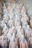 Terracotta army. XIAN, CHINA - October 8, 2017: Famous Terracotta Army in Xi'an, China. The mausoleum of Qin Shi Huang, the first Emperor of China contains royalty free stock photo