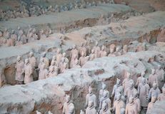 Terracotta army. XIAN, CHINA - October 8, 2017: Famous Terracotta Army in Xi'an, China. The mausoleum of Qin Shi Huang, the first Emperor of China contains Stock Photos