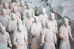 Terracotta army. XIAN, CHINA - October 8, 2017: Famous Terracotta Army in Xi'an, China. The mausoleum of Qin Shi Huang, the first Emperor of China contains royalty free stock photos