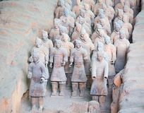 Terracotta army. XIAN, CHINA - October 8, 2017: Famous Terracotta Army in Xi 'an, China. The mausoleum of Qin Shi Huang, the first Emperor of China contains royalty free stock images