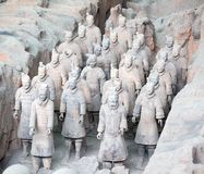 Terracotta army. XIAN, CHINA - October 8, 2017: Famous Terracotta Army in Xi 'an, China. The mausoleum of Qin Shi Huang, the first Emperor of China contains royalty free stock photography