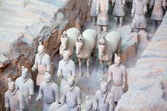 Terracotta army. XIAN, CHINA - October 8, 2017: Famous Terracotta Army in Xi 'an, China. The mausoleum of Qin Shi Huang, the first Emperor of China contains royalty free stock photo