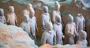 Terracotta army. XIAN, CHINA - October 8, 2017: Famous Terracotta Army in Xi 'an, China. The mausoleum of Qin Shi Huang, the first Emperor of China contains stock image