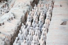 Terracotta army. XIAN, CHINA - October 8, 2017: Famous Terracotta Army in Xi 'an, China. The mausoleum of Qin Shi Huang, the first Emperor of China contains stock photography