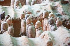 Terracotta army. XIAN, CHINA - October 8, 2017: Famous Terracotta Army in Xi 'an, China. The mausoleum of Qin Shi Huang, the first Emperor of China contains stock photo