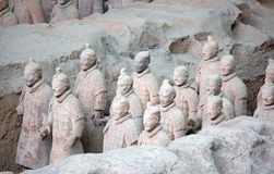 Terracotta army. XIAN, CHINA - October 8, 2017: Famous Terracotta Army in Xi 'an, China. The mausoleum of Qin Shi Huang, the first Emperor of China contains stock photos