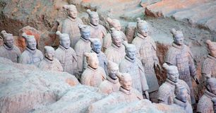 Terracotta army. XIAN, CHINA - October 8, 2017: Famous Terracotta Army in Xi 'an, China. The mausoleum of Qin Shi Huang, the first Emperor of China contains royalty free stock image