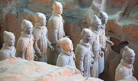 Terracotta army. XIAN, CHINA - October 8, 2017: Famous Terracotta Army in Xi 'an, China. The mausoleum of Qin Shi Huang, the first Emperor of China contains royalty free stock photos