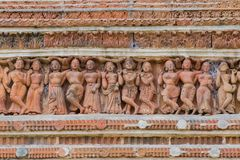Terracotta artworks, Kalna - Burdwan, West Bengal. Terracotta art works on the temple walls of Lalji temple of Kalna, West Bengal, India - It is one of oldest Stock Image