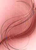 Terracotta background withiridescent curves, spiralsand golden balls Royalty Free Stock Images