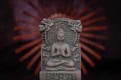 Terracotta Buddha of Sarnath, Varanasi, India; a great teacher of the universe stock image