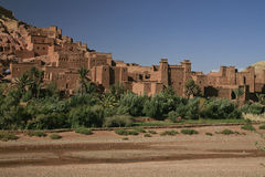Ksar: Terra Cotta castle and city. Beautiful ancient terracotta buildings against the bluest sky make up this fortified city in the middle-east Stock Image