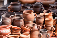 Terracotta ceramics mugs souvenirs at str Stock Photos