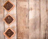 Terracotta or clay gardening pots with dirt Royalty Free Stock Photography
