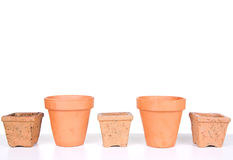 Terracotta or clay gardening pots Stock Images