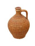 Terracotta clay vase with wooden protection Royalty Free Stock Photos
