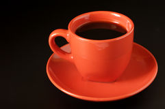 Terracotta cup of coffee Stock Image