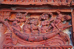 Terracotta designs on Indian ancient temple Royalty Free Stock Photo