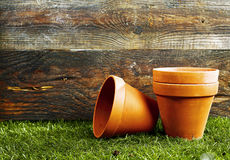 Terracotta flower pots Stock Photo