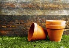 Terracotta flower pots Stock Photo