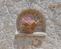 Terracotta flowerpot and stonewall Royalty Free Stock Photos